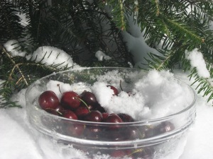 anti cancer cherries in snow