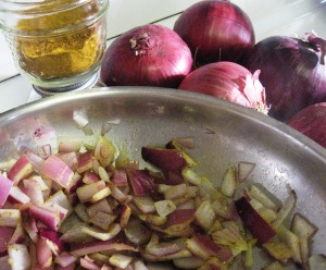 onions on stove with turmeric concoction to consider