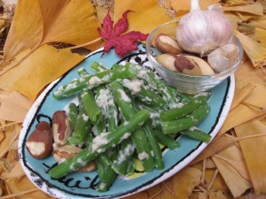 Green Beans with Brazil Nut- Garlic Paste