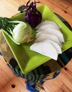 Kohlrabi and daikon slices
